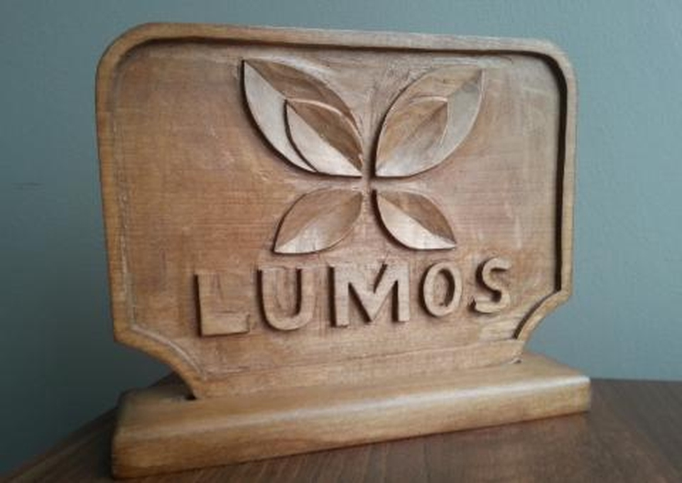 A plaque that Veliko made for Georgette Mulheir, CEO at Lumos