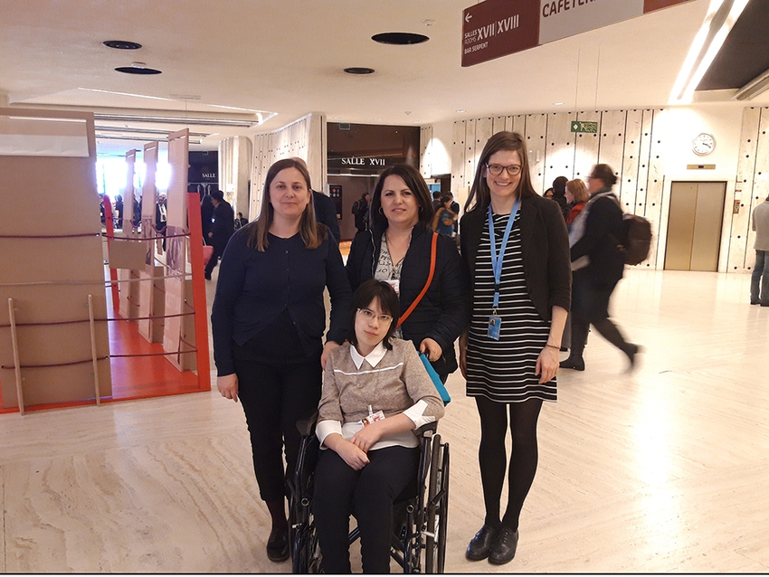Dumitrita, a Lumos charity self advocate speaks at the UN Human Rights conference in Geneva
