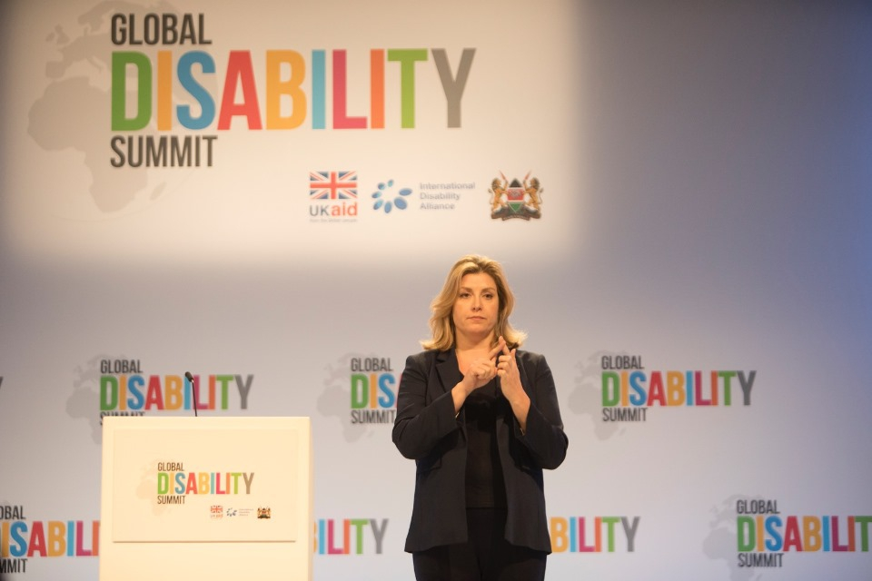 Penny Mordaunt signing the introduction to her speech. Picture: Michael Hughes/DFID