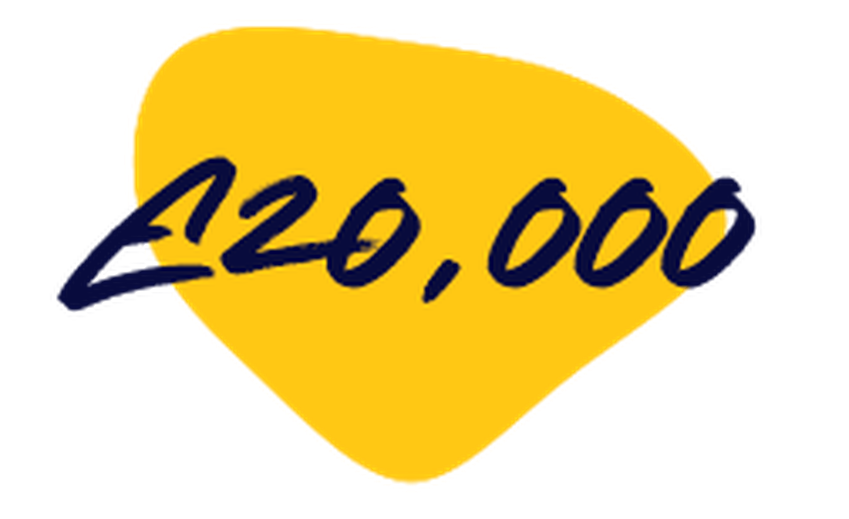 20,000 on a yellow background
