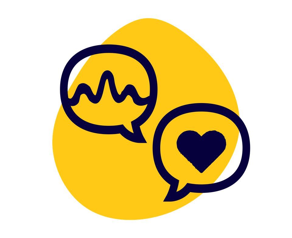 two speech bubbles with hearts symbolising therapy